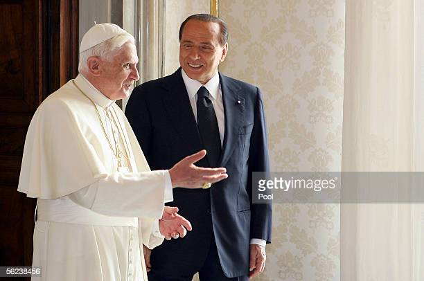 Pope Benedict XVI talks with Italian Prime Minister Sivio Berlusconi during their meeting November 19 2005 in Vatican City This is the first meeting...