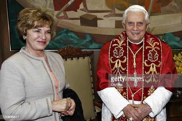Pope Benedict XVI visits Bandeirantes Palace accompanied by Brazilian President Luiz Inacio Lula da Silva First Lady Marisa Leticia Sao Paulo...