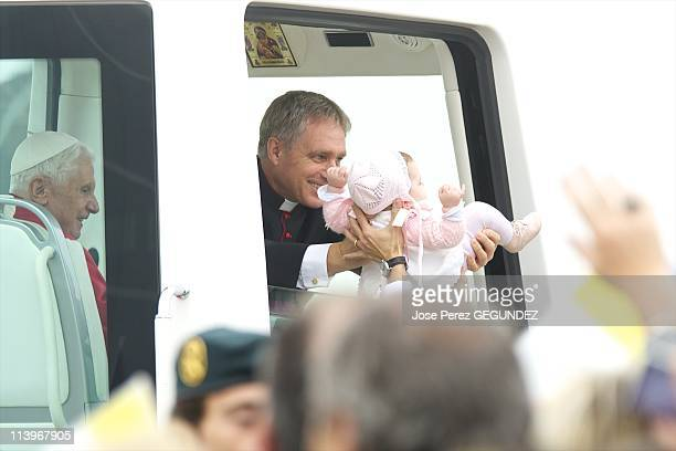 Pope Benedict XVI visits Spain In Santiago De Compostela Spain On November 06 2010Pope Benedict XVI is welcomed by Prince Felipe and Princess Letizia...