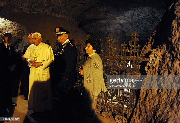 Pope Benedict XVI visits the Fosse Ardeatine site on March 27 2011 in Rome where 335 Italians including Catholics and Jews were killed by Nazi troop...