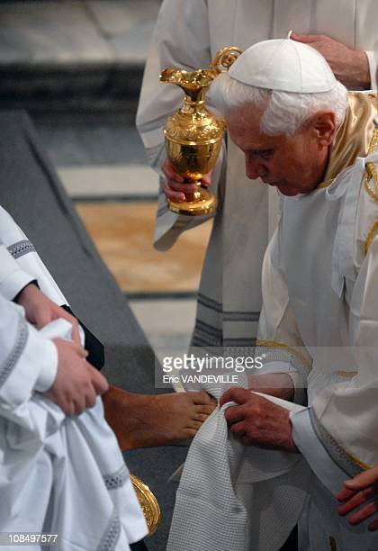 Pope Benedict XVI washed the feet of 12 men during the Mass of the Last Supper.Benedict XVI leads the beginning of the Paschal Triduum Mass of the...