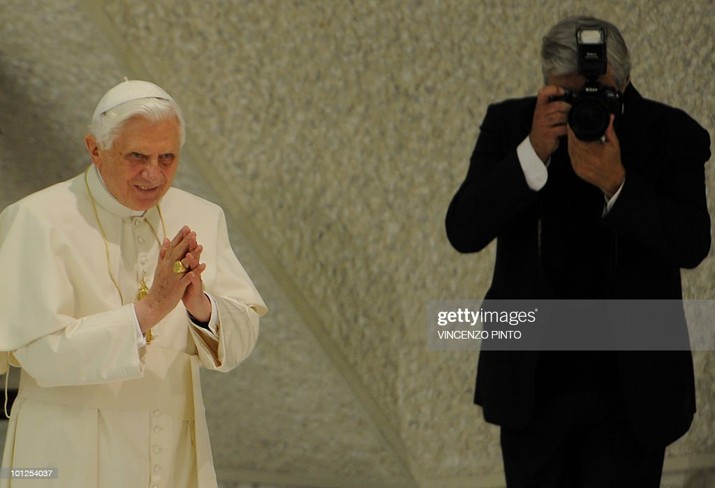 Pope Benedict XVI (L) waves to pilgrims on May 29, 2010, as he arrive in the Sala Nervi at the Vatican for a special audience to mark the 4th centenary of the death of the Italian priest Matteo Ricci. The Vatican's investigator in the Church's paedophilia scandal on Saturday led prayers at St. Peter's Basilica for victims as well as priests who abused them. Monsignor Charles Scicluna led the prayers 'in favour of victims of abuse perpetrated by men and women of the church so that their wounds can heal and they can find true peace'.
