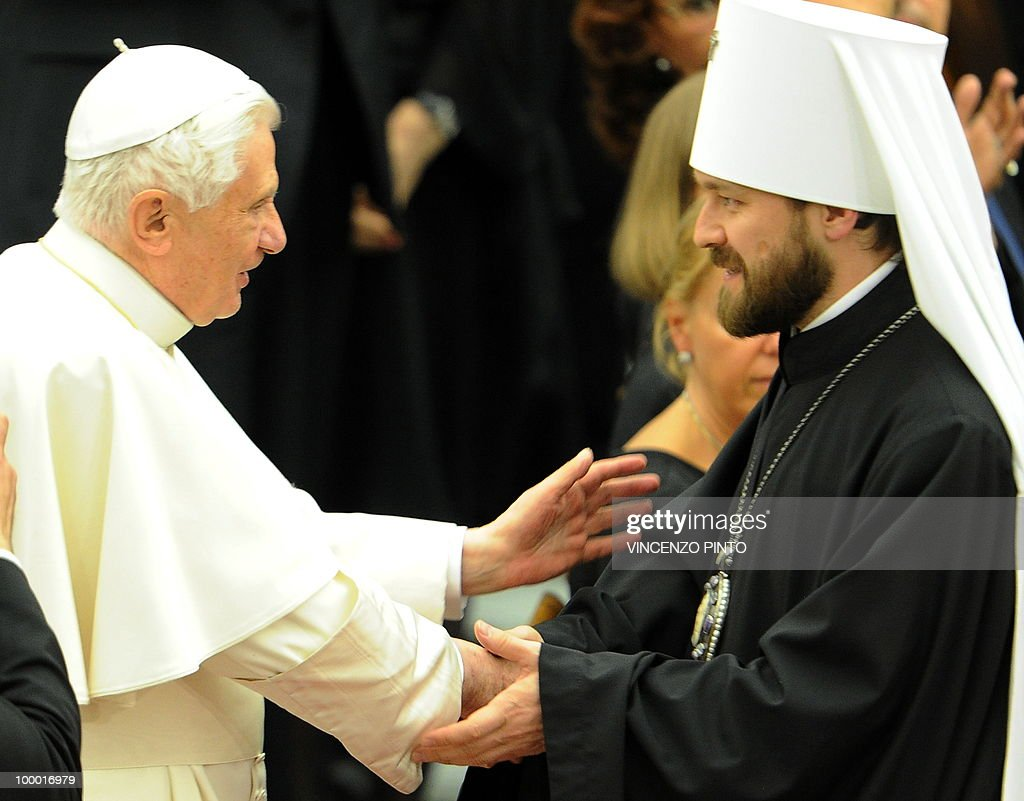 Pope Benedict XVI welcomes Methropolite Hilarion Alfeyev (R) prior to the concert offer by Russian Patriarch Kirill I in the Paolo VI hall at the Vatican on May 20, 2010, to mark the Russian day of culture and spirituality.