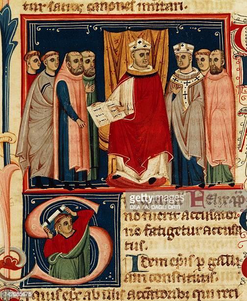 Pope Boniface VIII promulgates his own laws miniature manuscript Italy 13th Century
