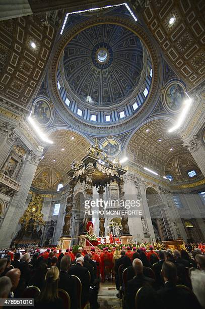 Pope Francis address people during a mass for the imposition of the Pallium upon the new metropolitan archbishops and the solemnity of Saints Peter...