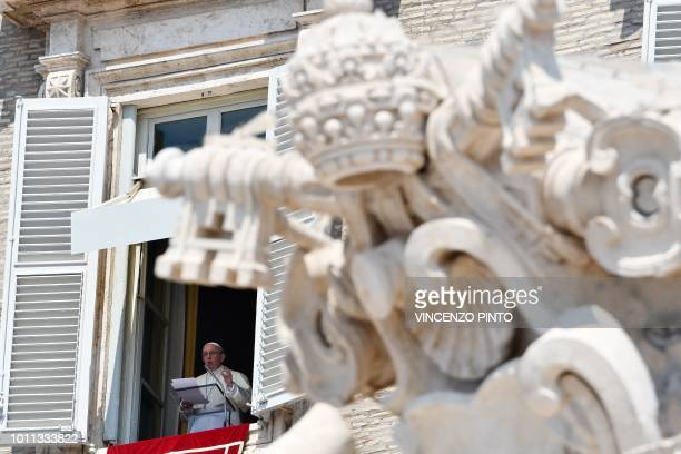 Pope Francis address pilgrims gathered in St Peter's square at the Vatican during his Sunday Angelus prayer on August 5 2018