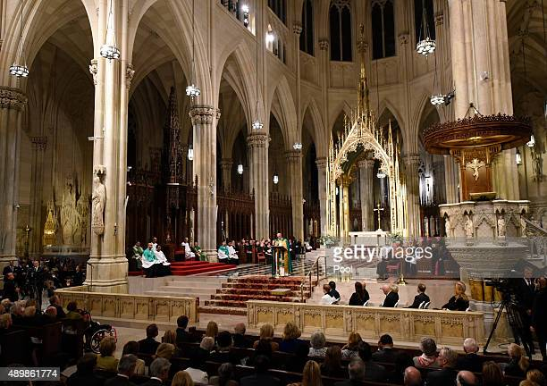 Pope Francis addresses the congregation during evening Vespers at Saint Patrick's Cathedral on September 24 2015 in New York City The pope is on a...