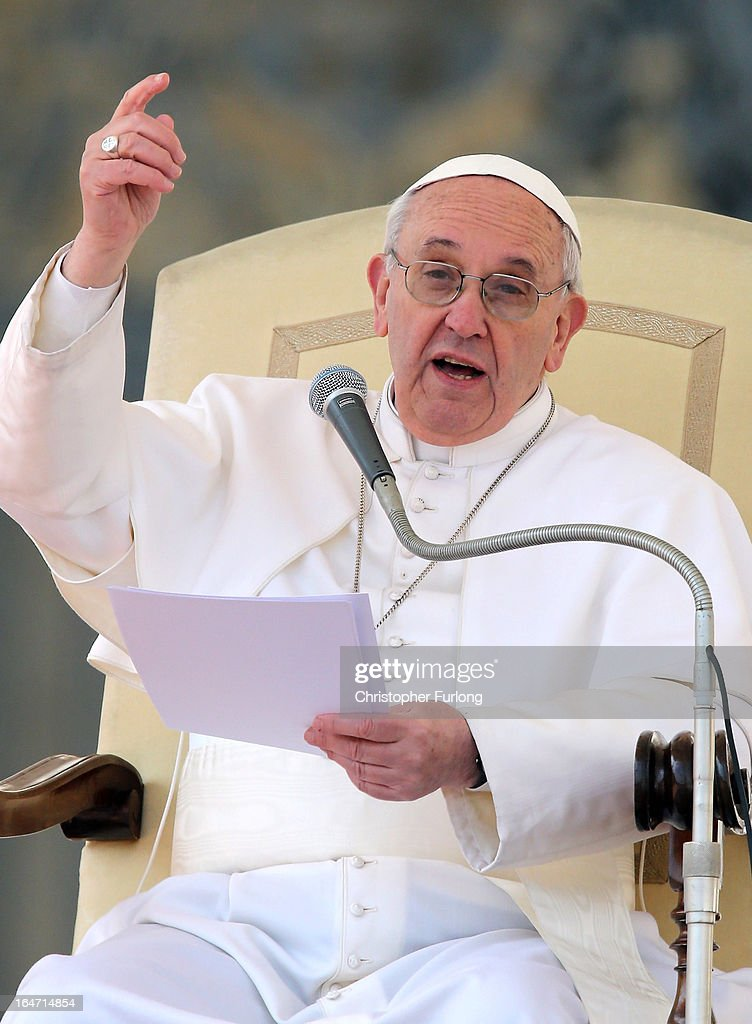 Pope Francis addresses the crowd during his first weekly general audience as pope on March 27, 2013 in Vatican City, Vatican. Pope Francis held his weekly general audience in St Peter's Square today