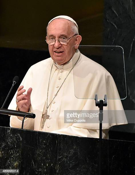 Pope Francis addresses the United Nations General Assembly at the United Nations General Assembly Hall on September 25 2015 in New York City