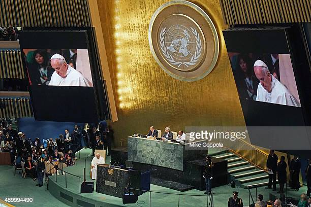 Pope Francis addresses The United Nations General Assembly on September 25 2015 in New York City