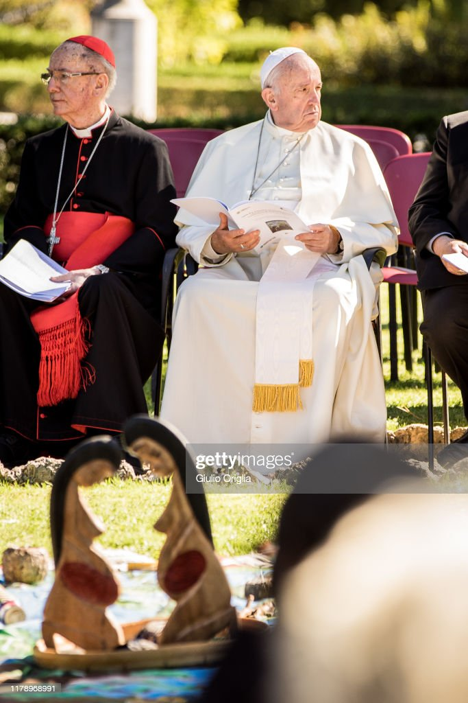 Pope Francis Celebrates The Feast Of St. Francis At The Vatican Gardens : News Photo
