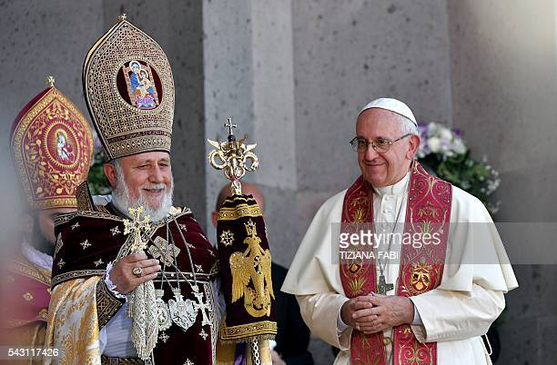 Pope Francis and Catholicos of All Armenians Karekin II attend the Divine Liturgy at the Apostolic Cathedral in Etchmiadzin outside Yerevan on June...