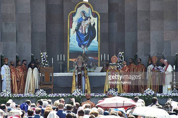 Pope Francis and Catholicos of All Armenians Karekin II lead a Divine Liturgy at the Armenian Apostolic Cathedral in Etchmiadzin Armenia on 26 June...