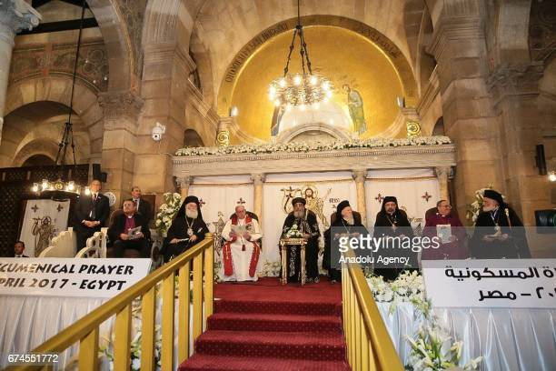 Pope Francis and Pope Tawadros II of Alexandria attend a mass after their meeting at The Saint Mark's Coptic Orthodox Cathedral in Abbassia district...