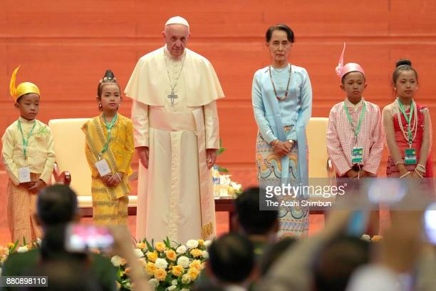 Pope Francis and State Counsellor Aung San Suu Kyi are seen prior to the Pope's speech on November 28 2017 in Nay Pyi Taw Myanmar