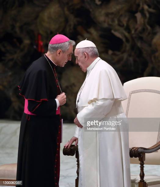Pope Francis and the German archbishop Georg Gaenswein prefect of the Pontifical House during the weekly general audience in the Paul VI Hall Vatican...