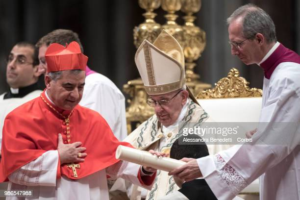 Pope Francis appoints Giovanni Angelo Becciu as Cardinal during a consistory ceremony to create 14 new cardinals at St Peters Basilica on June 28...