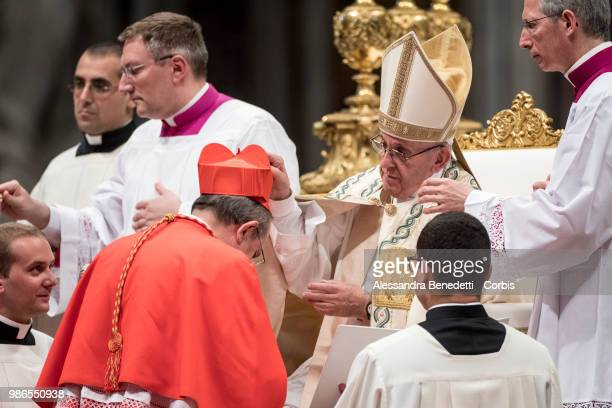 Pope Francis appoints Giuseppe Petrocchi as Cardinal during a consistory ceremony to create 14 new cardinals at St Peters Basilica on June 28 2018 in...