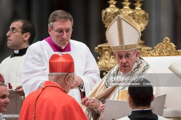 Pope Francis appoints Pedro Ricardo Barreto Jimeno as Cardinal during a consistory ceremony to create 14 new cardinals at St Peters Basilica on June...