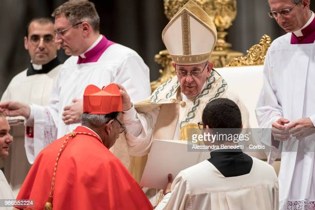 Pope Francis appoints Toribio Ticona Porco of Bolivia as Cardinal during a consistory ceremony to create 14 new cardinals at St Peters Basilica on...