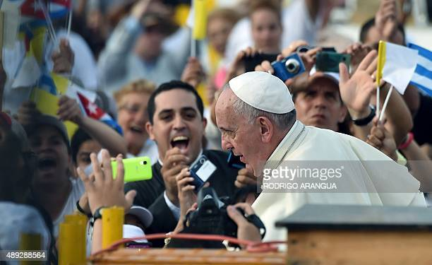 Pope Francis arrives at Revolution Square in Havana on September 20 2015 Pope Francis will give mass on Revolution Square the biggest event of his...
