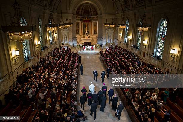 Pope Francis arrives at Saint Charles Borromeo Seminary to address international bishops September 27 2015 in Wynnewwod Pennsylvania After visiting...