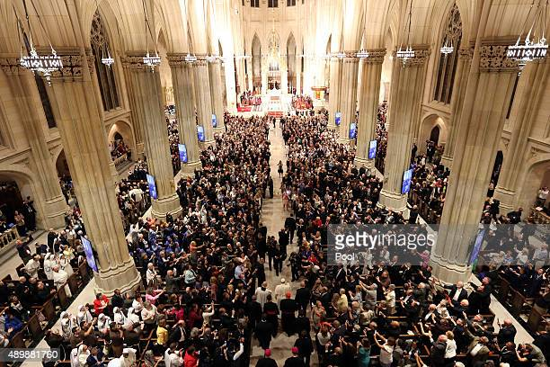 Pope Francis arrives at St Patrick's Cathedral September 24 2015 in New York City The Pope is on his first trip to the United States visiting...