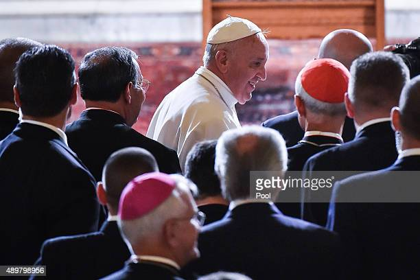 Pope Francis arrives at St Patrick's Catholic Church September 24 2015 in Washington DC The Pope is on his first trip to the United States visiting...