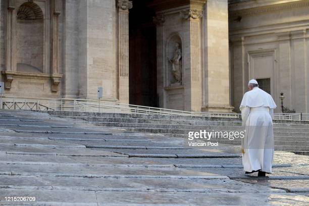 Pope Francis arrives at St Peter's Square to attend an extraordinary moment of prayer in time of pandemic, the adoration of the Blessed Sacrament and...
