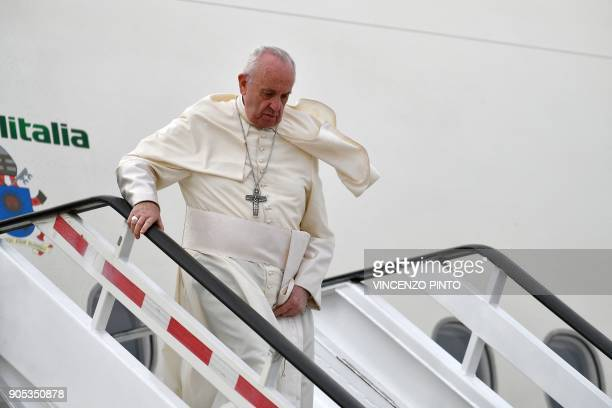 Pope Francis arrives at the Arturo Merino Benitez airport in Santiago on January 15 2018 Pope Francis is visiting Chile from January 15 to 18 before...
