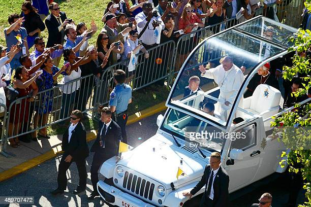 Pope Francis arrives at the Basilica at Catholic University to celebrates mass of Canonization for Juniper Serra on September 23 2015 in Washington...