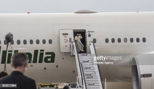 Pope Francis arrives at the Comodoro Arturo Merino Benitez International Airport as part of his official visit in Santiago Chile on January 16 2018