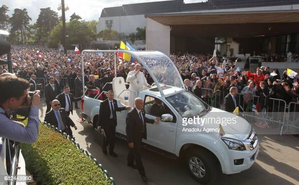 Pope Francis arrives at the Sanctuary of Our Lady of Fatima Friday May 12 in Fatima Portugal