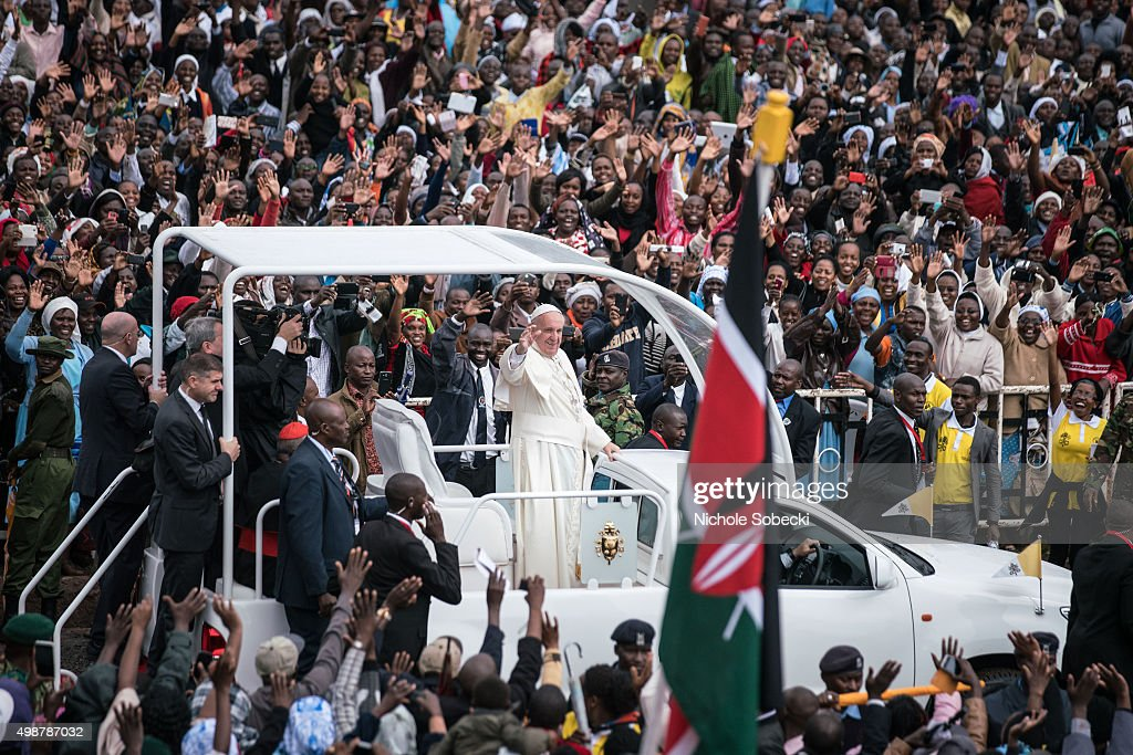 Pope Francis arrives at the University of Nairobi for a public mass in downtown Nairobi on November 26, 2015, in Nairobi, Kenya. Pope Francis makes his first visit to Kenya on a five day African tour that is scheduled to include Uganda and the Central African Republic. Africa is recognised as being crucial to the future of the Catholic Church with the continent's Catholic numbers growing faster than anywhere else in the world.