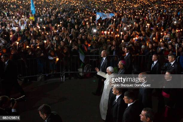Pope Francis arrives back to the Sanctuary of Fatima for the Blessing for the Candles on May 12 2017 in Fatima Portugal Pope Francis will be...