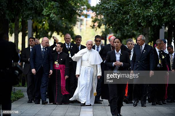 Pope Francis arrives for a multireligious service at the site of the 9/11 memorial and Museum on September 25 2015 in New York City The Pope is on a...