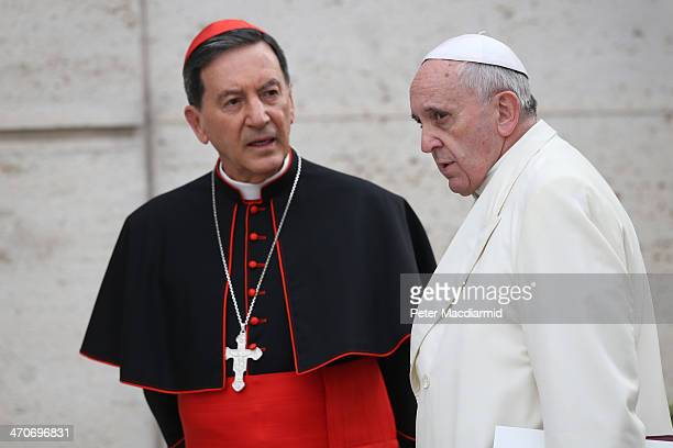 Pope Francis arrives for an Extraordinary Consistory with Colombian Cardinal Ruben Salazar Gomez on February 20 2014 in Vatican City Vatican Pope...
