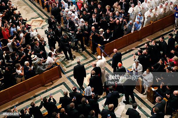 Pope Francis arrives for the canonization Mass for Junipero Serra at the Basilica of the National Shrine of the Immaculate Conception on September 23...