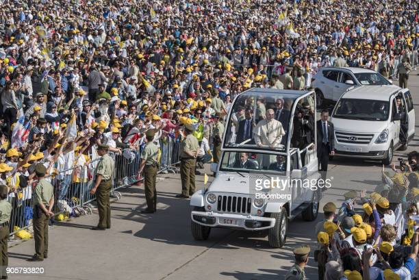 Pope Francis arrives in a motorcade for a mass at O'Higgins Park in Santiago Chile on Tuesday Jan 16 2018 400000 Chileans attended Pope Francis'...