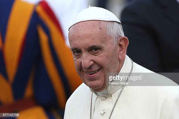 Pope Francis arrives in St Peter's Square for a meeting with the Roman Diocesans on June 14 2015 in Vatican City Vatican The Pontiff invited everyone...