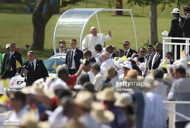 Pope Francis arrives in the Plaza de la Revolution to hold a mass in the square on September 21 2015 in Holguin Cuba Pope Francis is spending his...