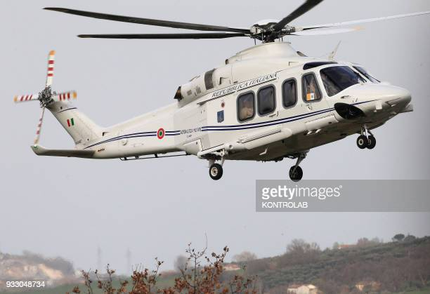Pope Francis arrives on helicopter at the birthplace of Padre Pio, the famous Saint known for his miracles. Pope Francis waves to faithfuls during...