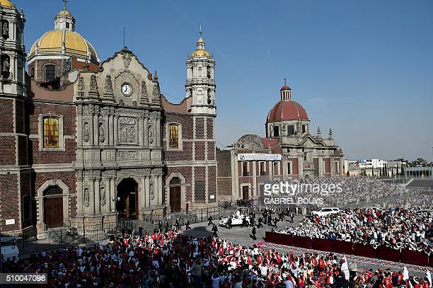Pope Francis arrives to celebrate a Holy Mass in the Basilica of Our Lady of Guadalupe in Mexico on February 13 2016 Pope Francis is in Mexico for a...