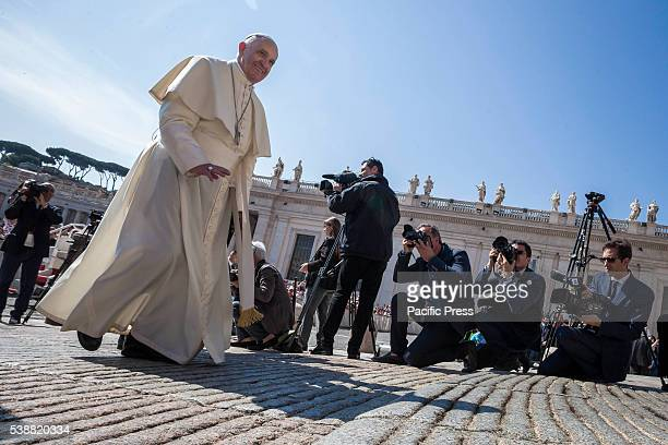 S SQUARE VATICAN CITY VATICAN Pope Francis arrives to celebrate his Weekly General Audience in St Peter's Square in Vatican City Vatican Jesus first...