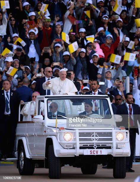 Pope Francis arrives to celebrate Mass at Zayed Sport City on February 5 2019 in Abu Dhabi United Arab Emirates Pope Francis is on a historic...
