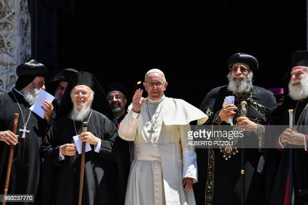 Pope Francis arrives to deliver his speech next to Ecumenic Patriarch of the Orthodox Church Bartolomeo I Egypt's Coptic Orthodox Pope Tawadros II...