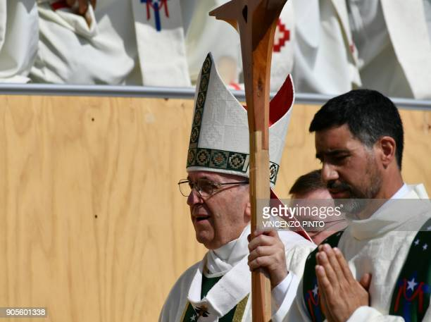 Pope Francis arrives to give an openair mass at O'Higgins Park in Santiago on January 16 2018 The pope landed in Santiago late Monday on his first...