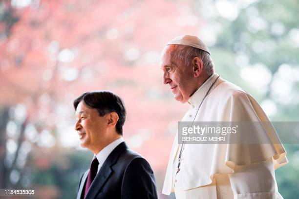 Pope Francis arrives to meet with Japan's Emperor Naruhito at the Imperial Palace in Toyko on November 25 2019 Pope Francis called on November 25 for...