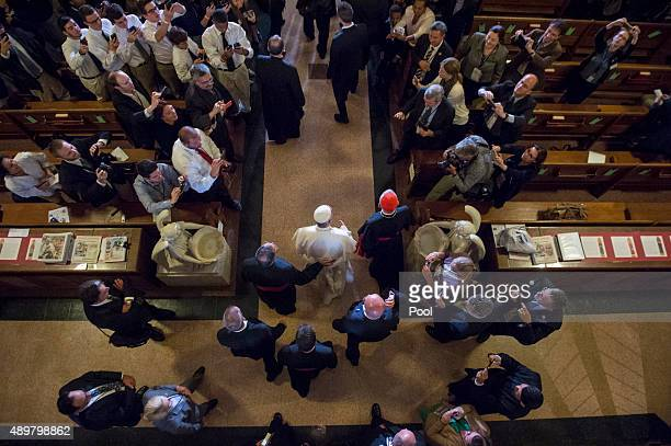 Pope Francis arrives to pray and visit St Patrick's Church on September 24 2015 in Washington DC Pope Francis is on a fiveday trip to the United...
