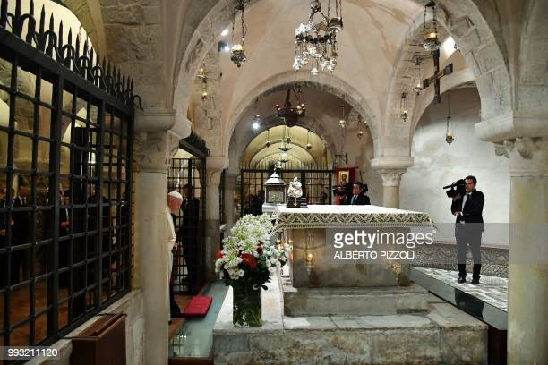 Pope Francis arrives to pray at the tomb of Saint Nicholas in the crypt of the Pontifical Basilica of St Nicholas in Bari in the Apulia region in...